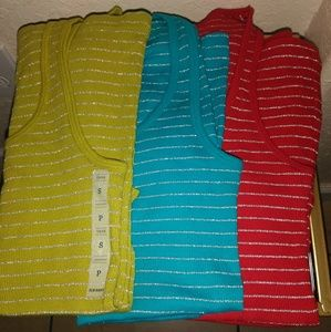 Old Navy Tops - All 3 Old Navy Silver Strips Tank Tops